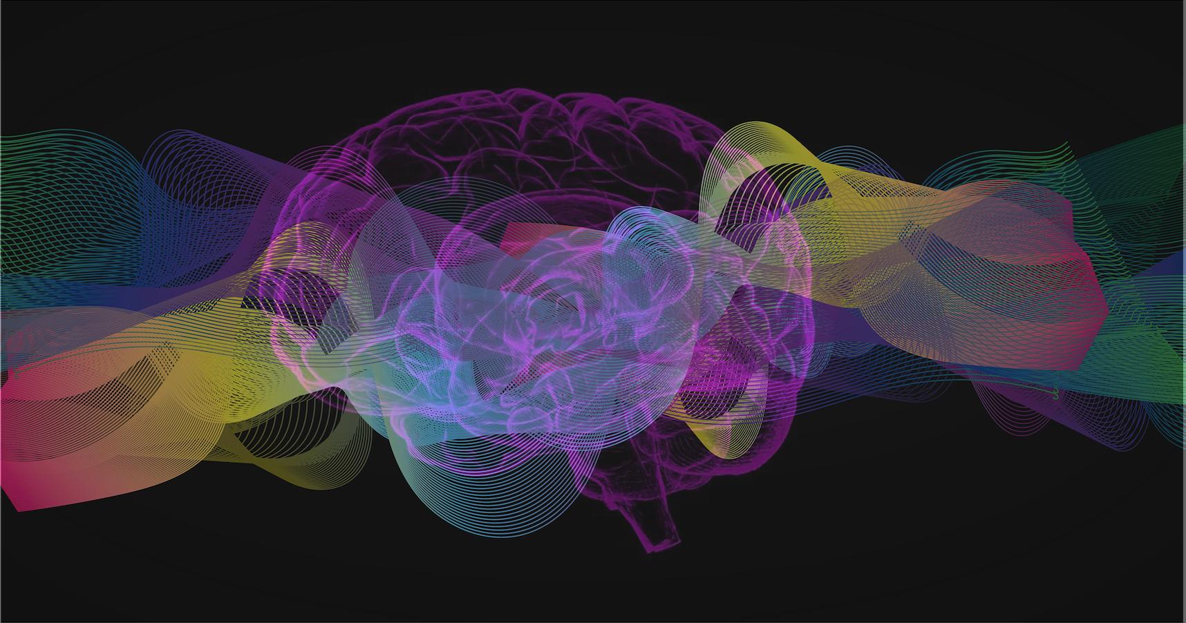 Neurofeedback système Cygnet. Les basses fréquence. Image d'une coupe de cerveau et d'ondes de couleurs sur fond noir